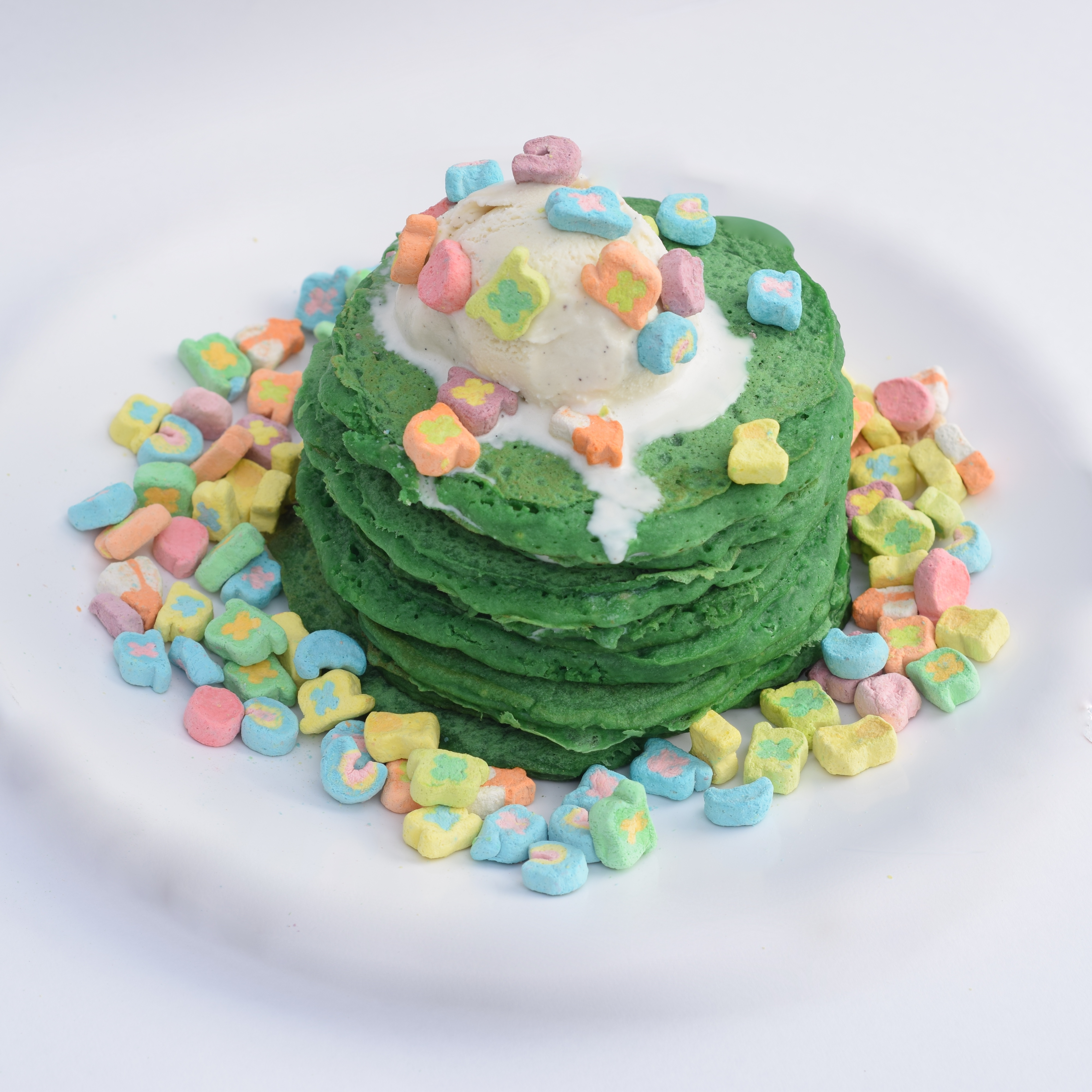 St. Patrick's Day Guinness Green Lucky Charm Pancakes