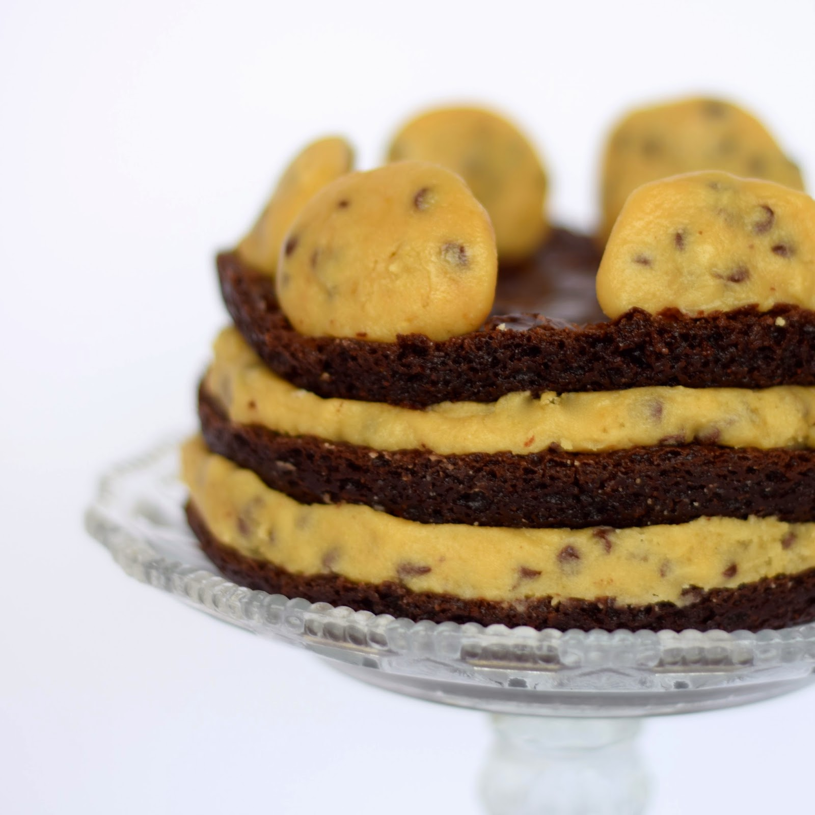 Cookie Dough Brownie Layered Cake