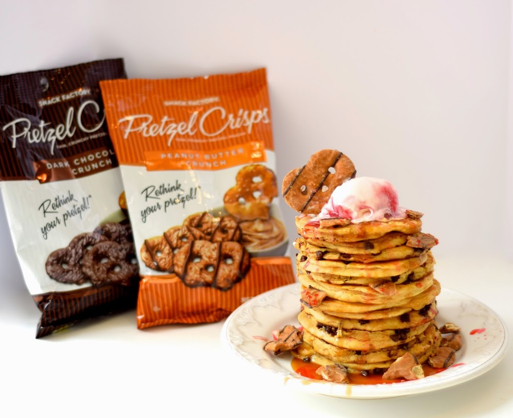 Pretzel Crisps Peanut Butter Chocolate Crunch Pancakes