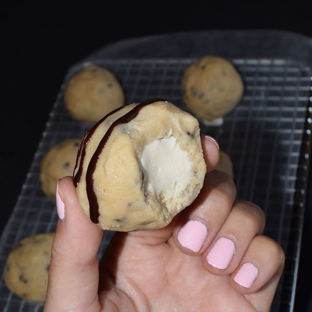cookie dough stuffed ice cream ball
