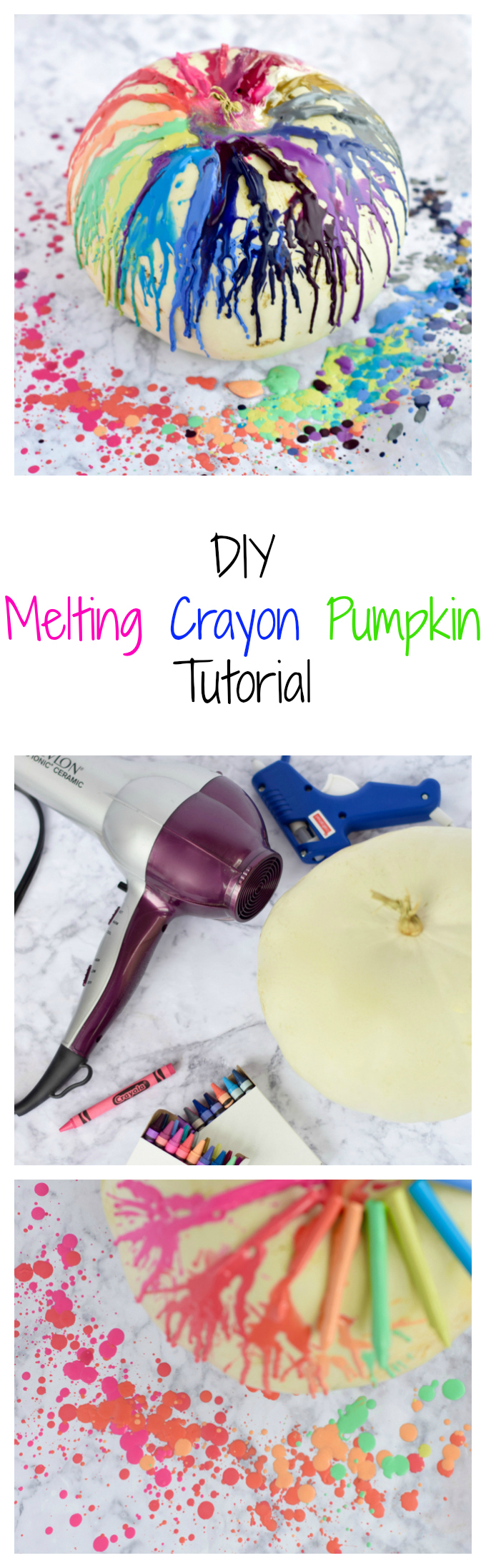 DIY Melting Crayon Pumpkin Tutorial
