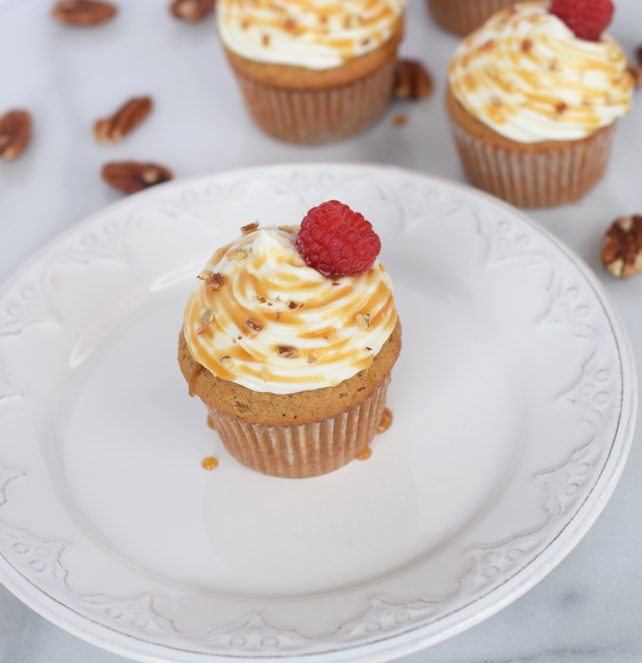 Cream Cheese Frosting on Sweet Potato Cupcakes
