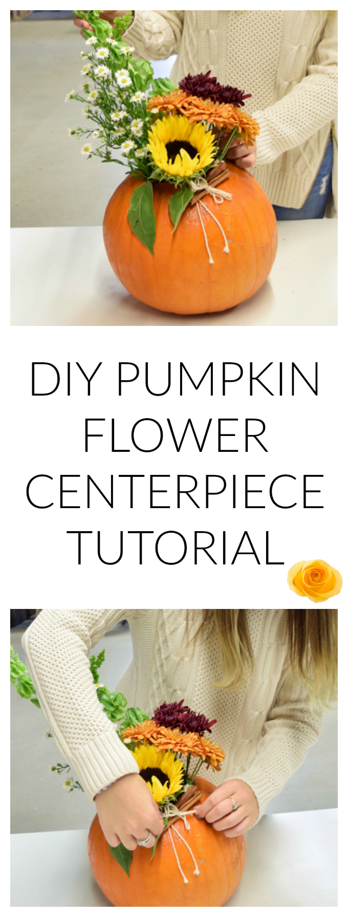 DIY PUMPKIN FLOWER CENTERPIECE TUTORIAL