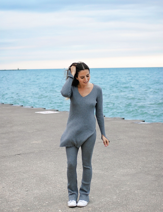Grey Knit Flared Pants