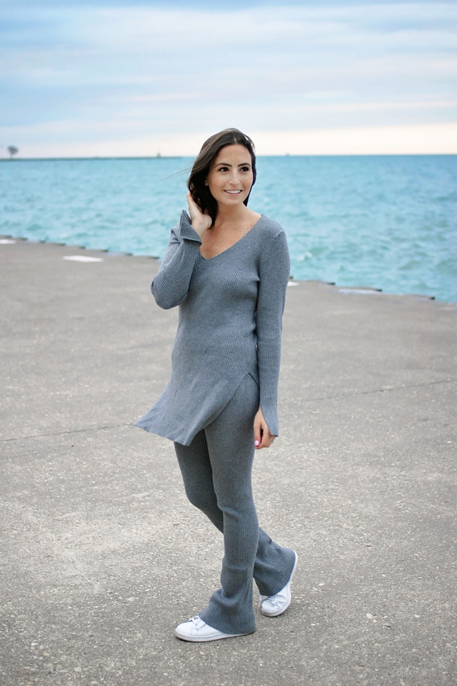 Grey Knit Flared Tunic