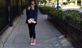 Kate Spade Chocolate Clutch Outfit