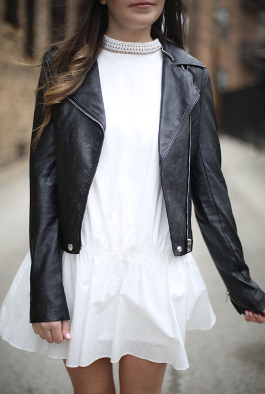 Leather Jacket Drop Waist Dress White