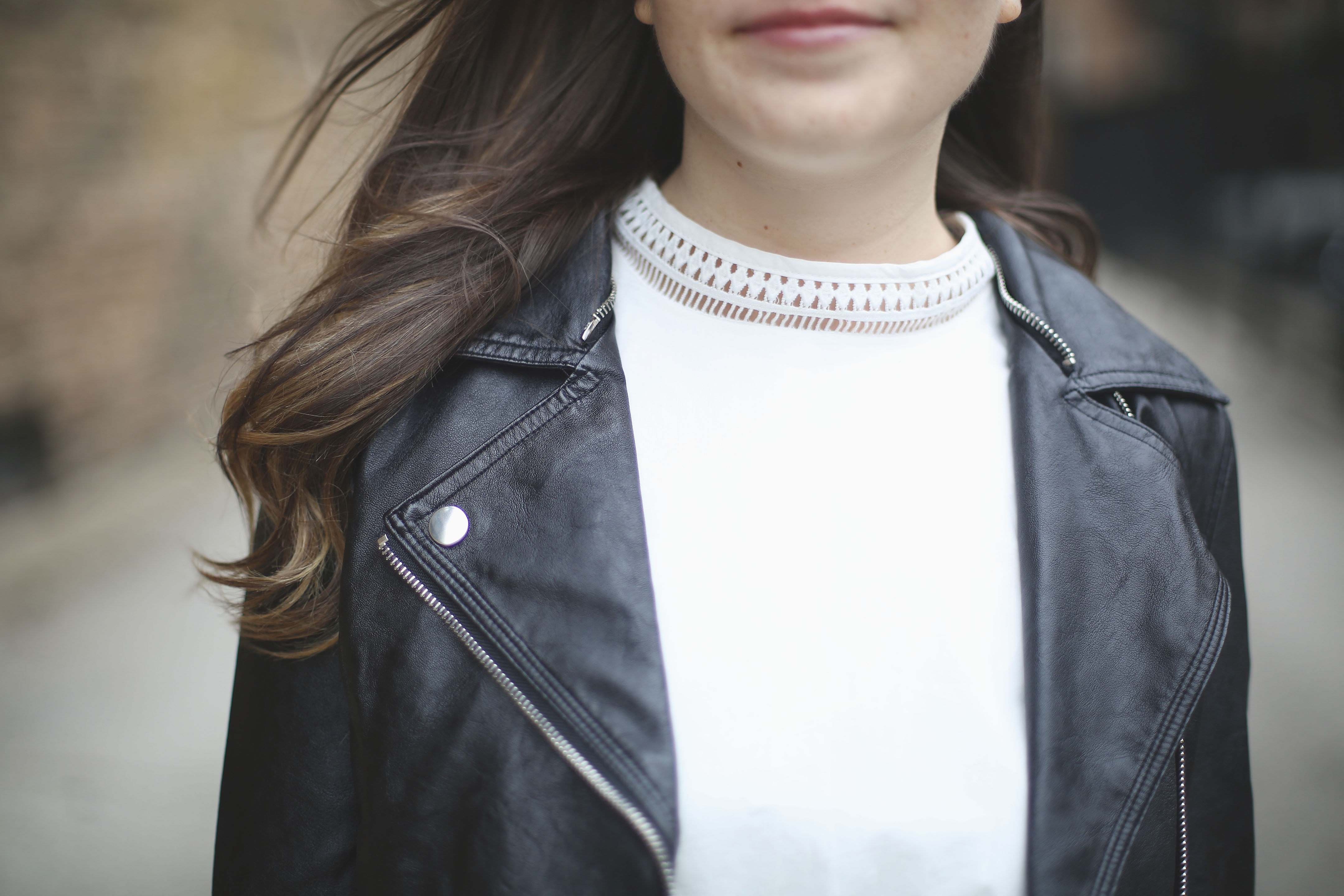 Leather Jacket Drop Waist Dress