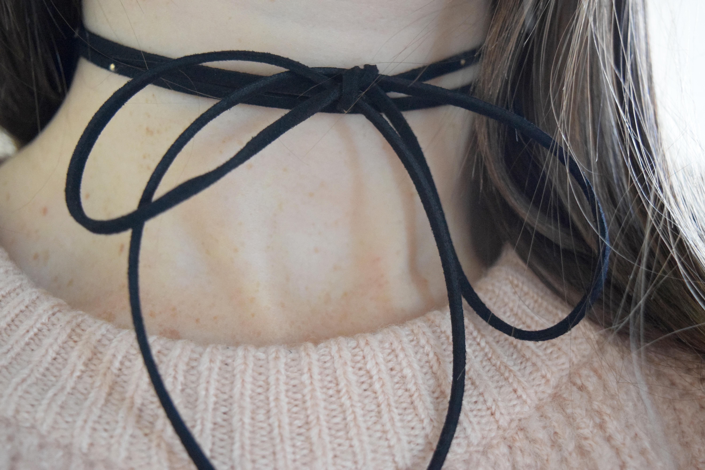 diy embellished tie choker necklace