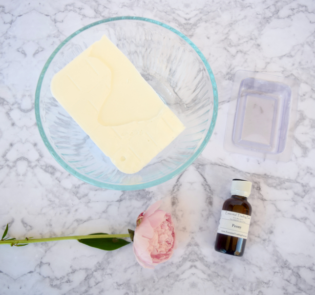 DIY Pink Peonies Bar Soap