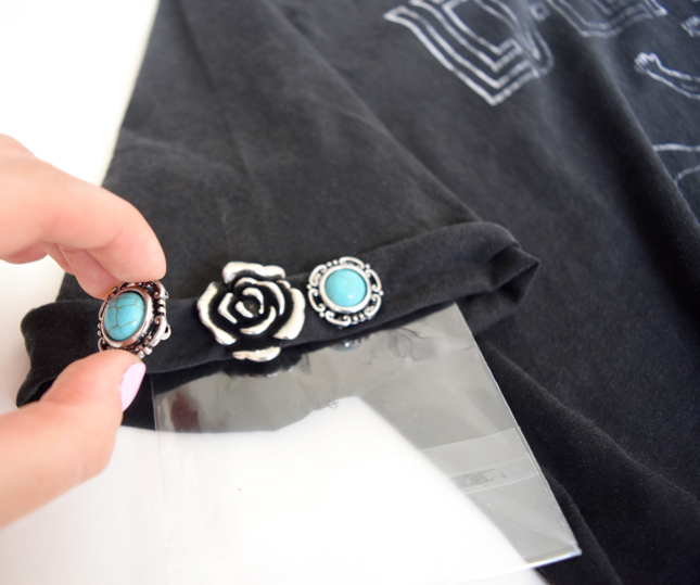 DIY Turquoise Beaded Band Shirt Tutorial