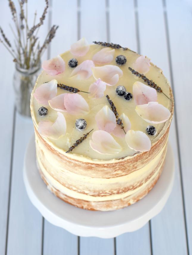 Peony Lavender Naked Cake