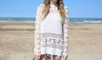 White Crochet Open Back Shirt