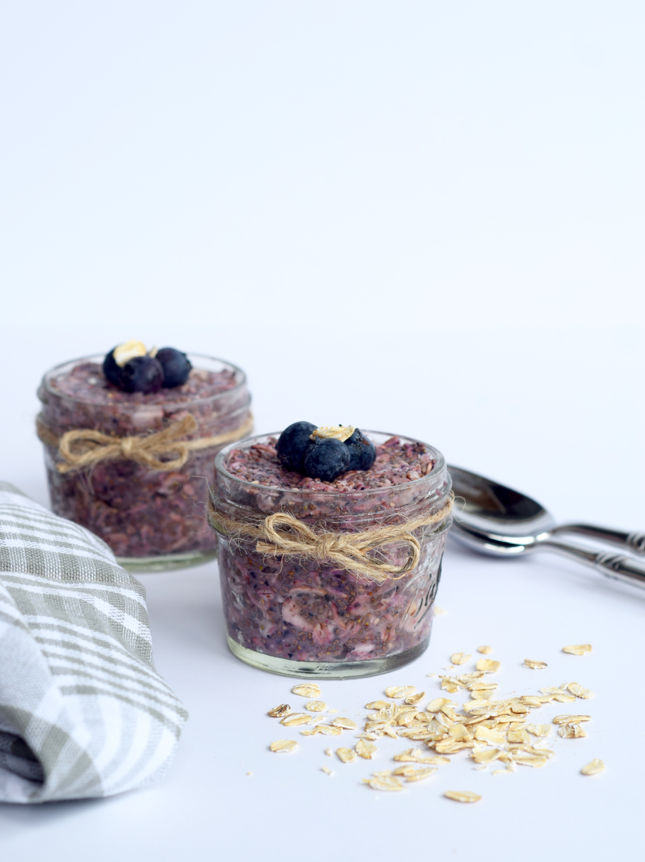 Blueberry Overnight Oat Chia Seed Pudding Recipe