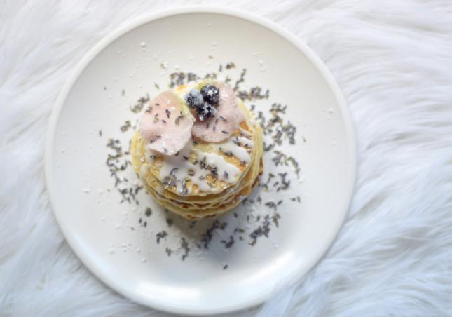 Sugared Blueberry Lavender Rose Pancake Recipe