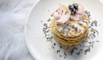 Sugared Blueberry Lavender Rose Pancakes