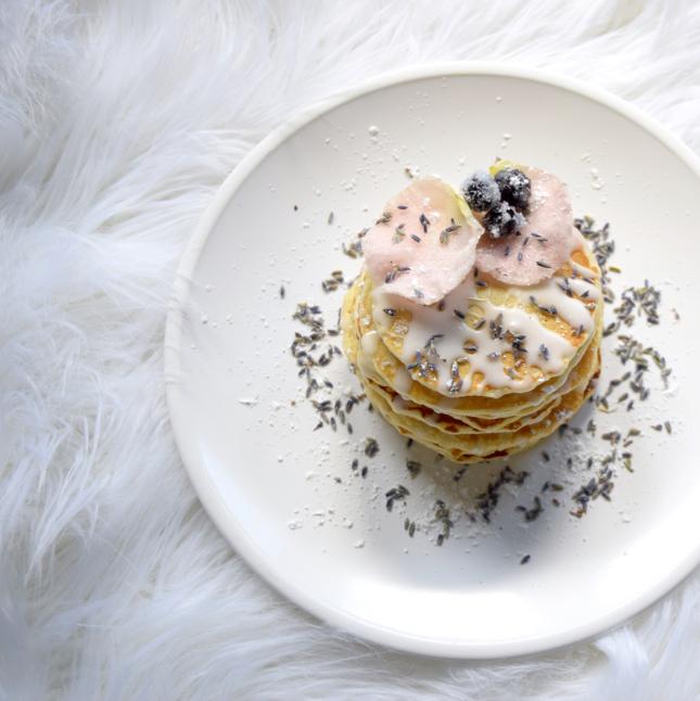 Sugared Blueberry Lavender Rose Pancakes