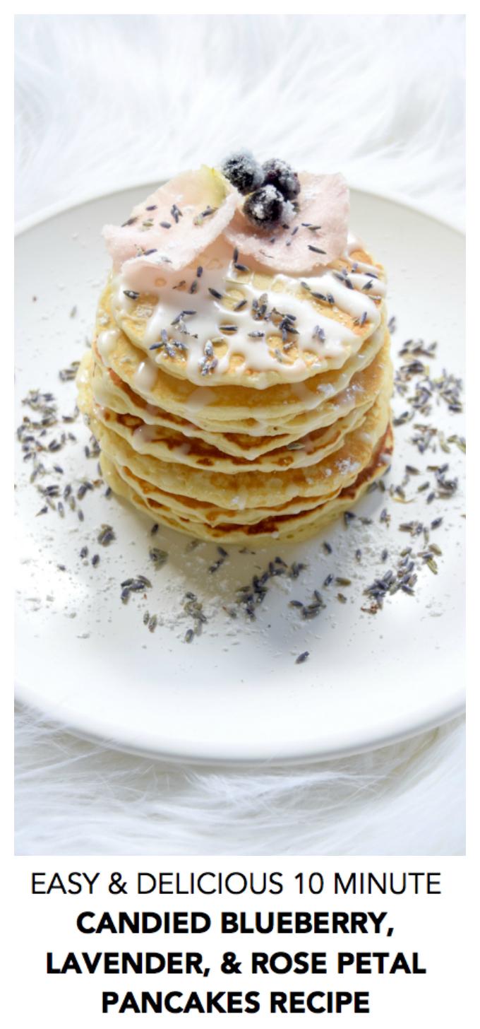 easy delicious ten minute blueberry lavender rose petal pancakes
