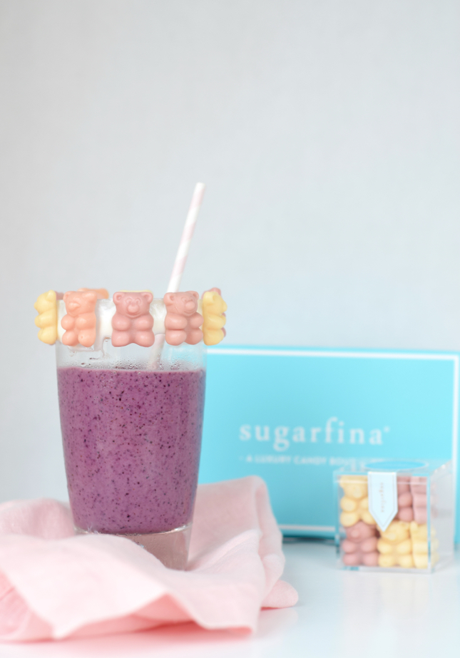 Bear-y Smoothie Recipe Made with Bananas, Blueberries, Yogurt, & Sugarfina Bear-y Smoothie Candy