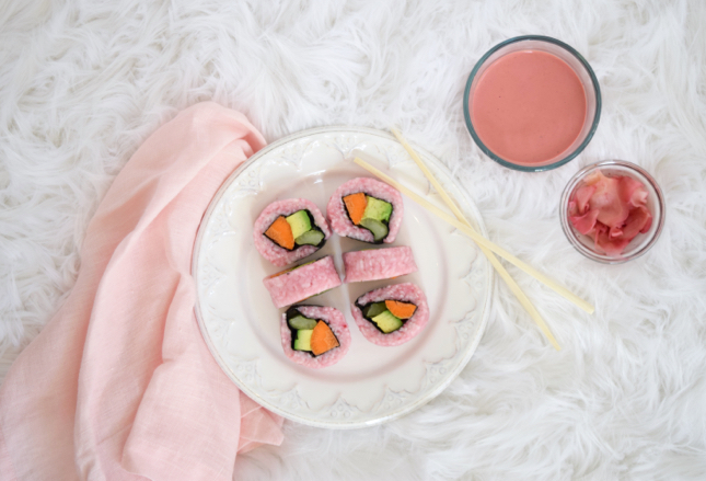 Easy Homemade Pink Sushi Recipe For Breast Cancer Awareness