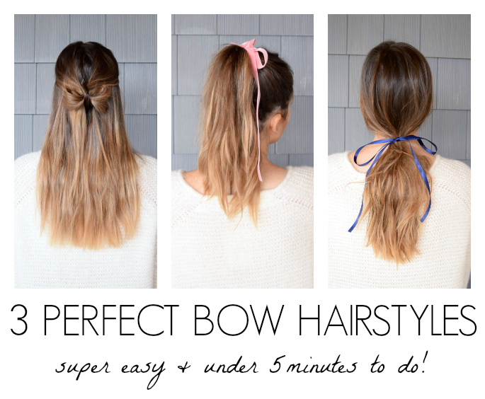 3 quick and easy bow hairstyles tutorial