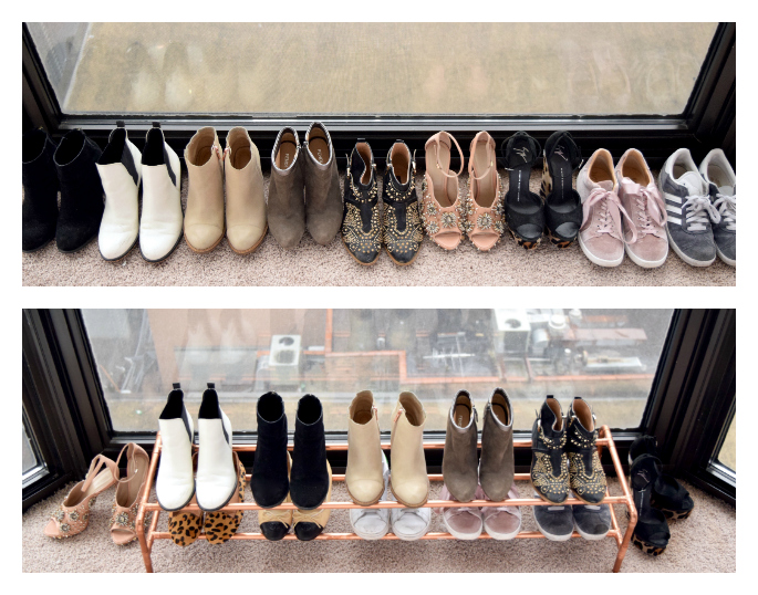 diy copper shoe rack before and after