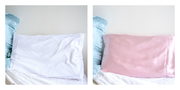 pink silk pillowcase before and after