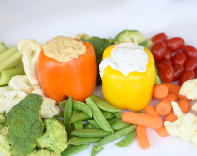 veggie tray with pepper dip cups