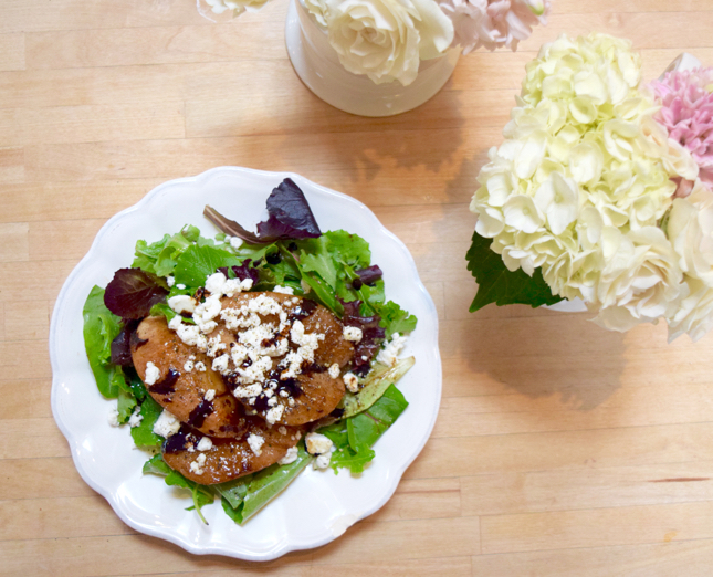 Roasted Balsamic Pear Goat Cheese Salad