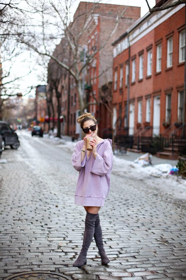 How To Wear The Oversized Sweatshirt Dress Trend