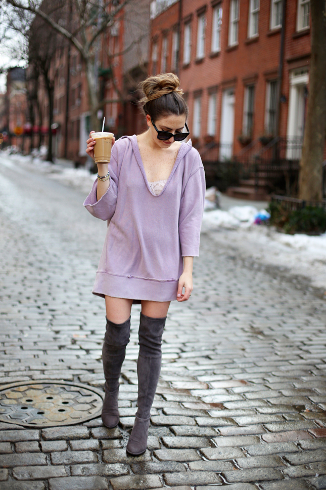 NYFW oversized sweatshirt with OTK boots