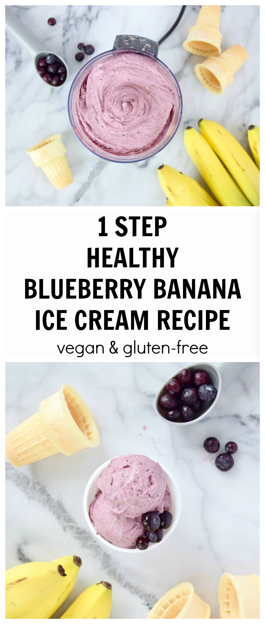 1 STEP HEALTHY BLUEBERRY BANANA ICE CREAM RECIPE