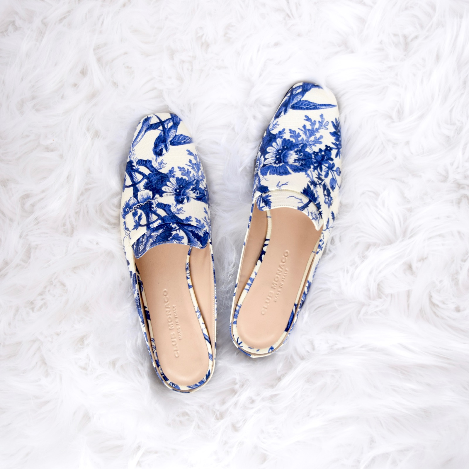 Club Monaco Blue And White Loafers
