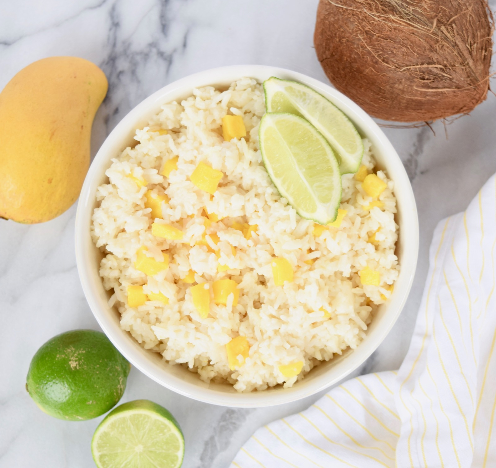 Coconut Rice Recipe with Lime And Mango