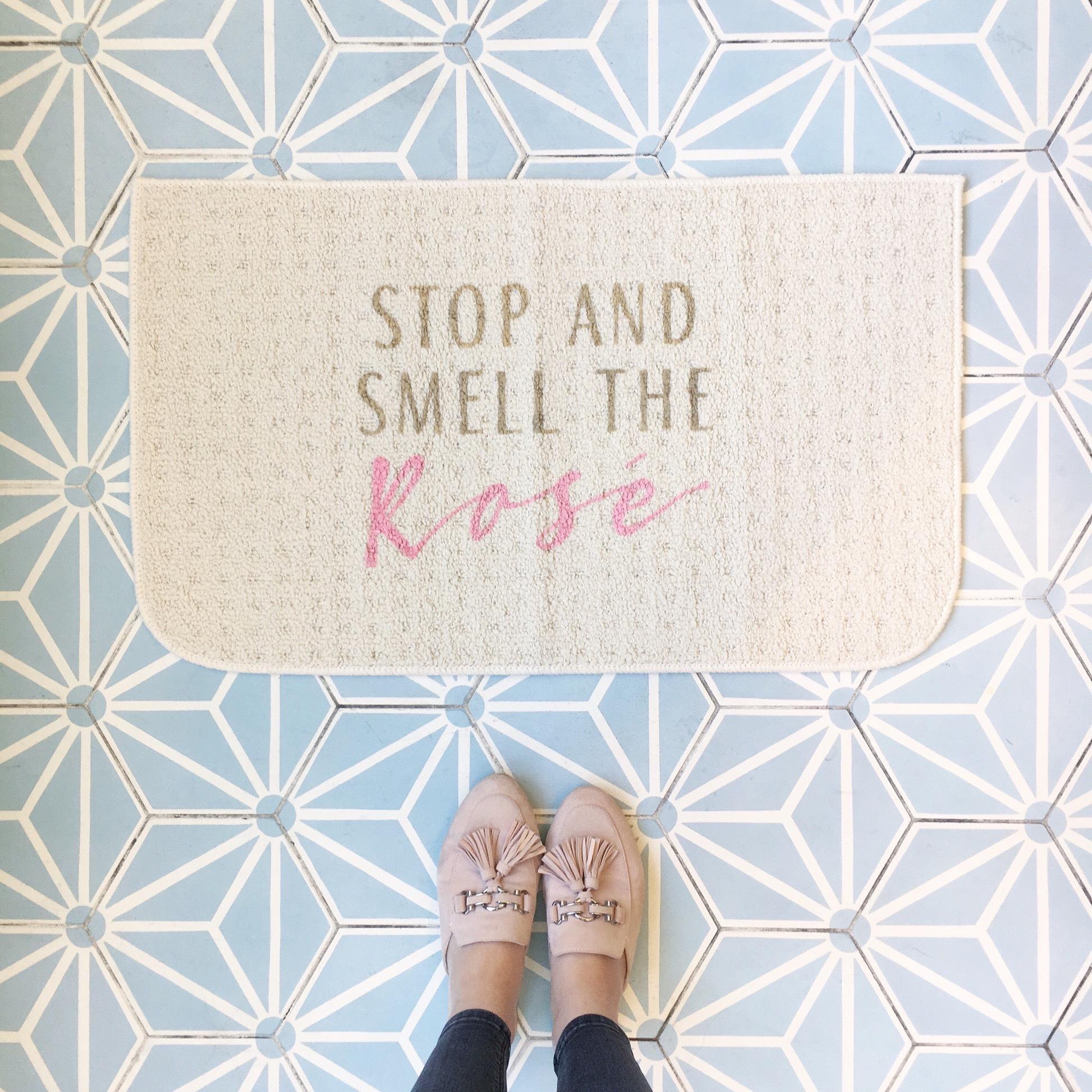 Stop And Smell The Rosé Doormat